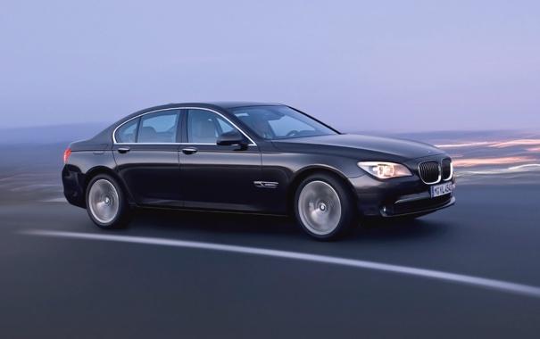 Фото обои Авто, Дорога, Черный, BMW, Бумер, БМВ, Седан