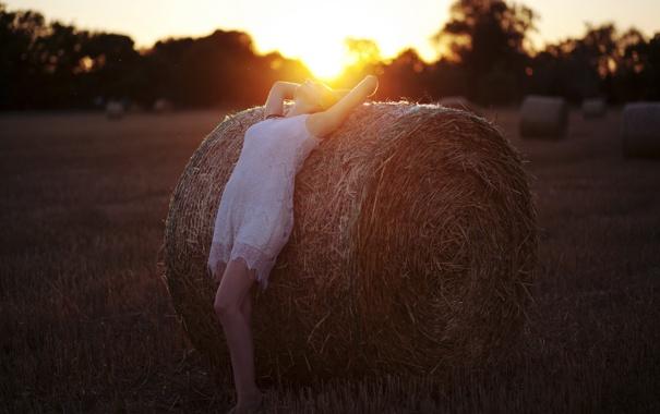Фото обои девушка, свет, закат, настроение, сено