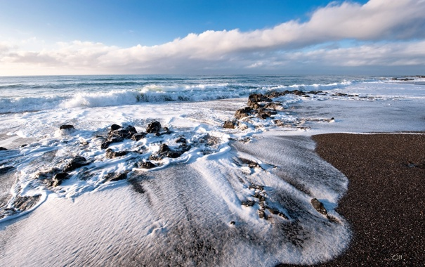 Фото обои песок, море, небо, пена, берег, прибой