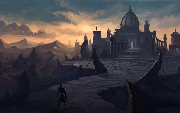Фото обои пейзаж, город, скалы, человек, арт, цепи, купол