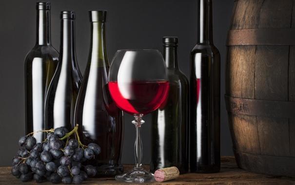 Фото обои вино, бутылка, виноград, пробка, бочка