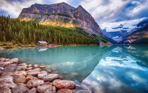 Фото обои камни, Канада, скалы, лес, Banff National Park, Lake Louise, дом