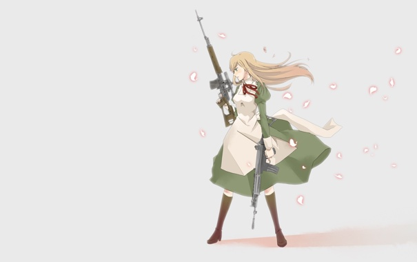 Фото обои девушка, оружие, автомат, пионер, свд, винтовка
