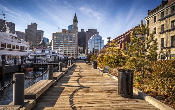 Фото обои дома, корабли, бухта, причал, США, Boston, Massachusetts