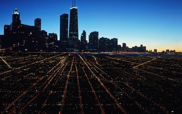 Фото обои ночь, город, Чикаго, свет города