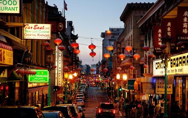 Фото обои люди, Калифорния, Сан-Франциско, автомобили, улицы, магазины, быт