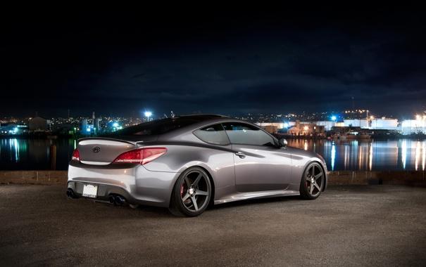 Фото обои Небо, Авто, Порт, Ночь, Машины, Hyundai, Coupe