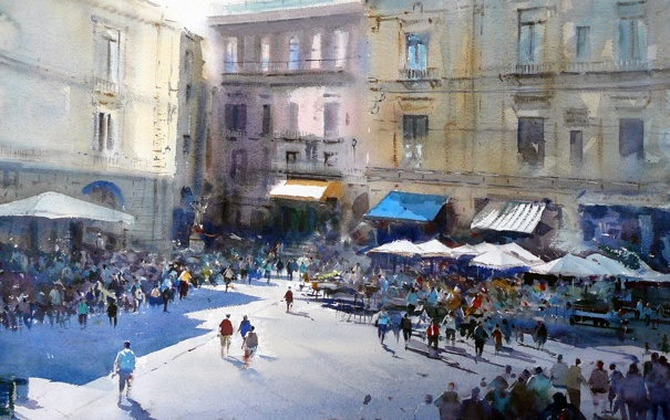 Фото обои город, люди, толпа, окна, дома, картина, площадь