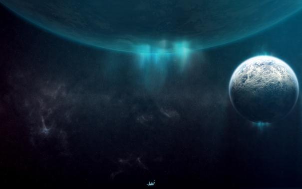 Фото обои лед, сияние, планета, спутник, полярное