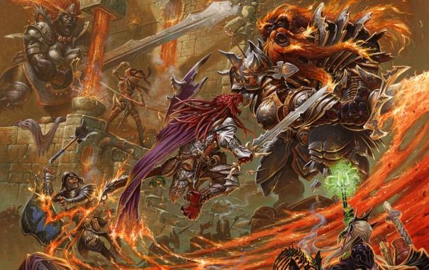 Фото обои замок, огонь, прыжок, магия, монстр, эльфы, воины