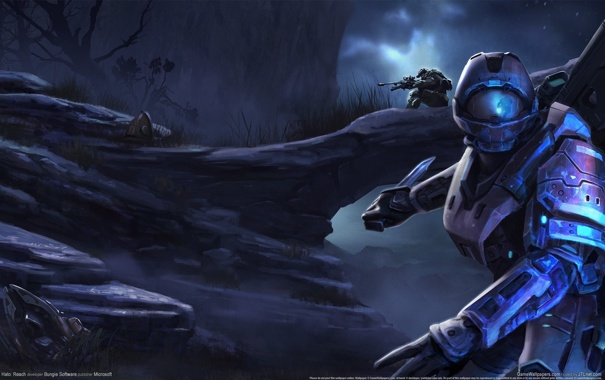 Фото обои ночь, скалы, солдат, Halo, броня, снайпер