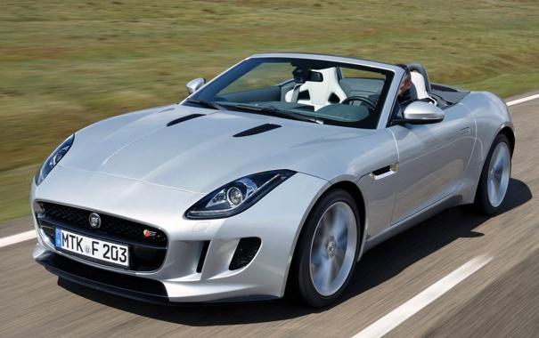 Фото обои серебристый, фары, ягуар, передок, скорость, Jaguar, F-Type