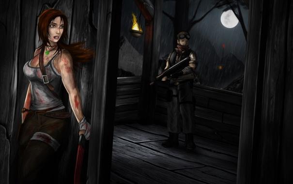 Фото обои небо, девушка, оружие, огонь, луна, кровь, игра