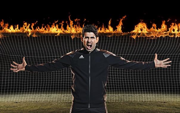 Фото обои огонь, ворота, Испания, футболист, Диего Коста, Diego Costa, Бразилец