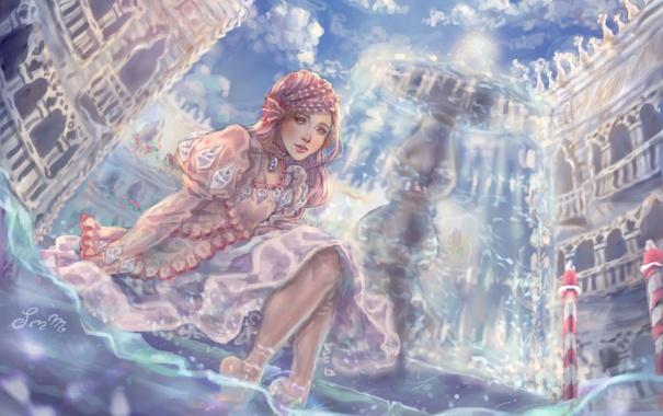 Фото обои взгляд, вода, девушка, платье, арт, ножки, живопись