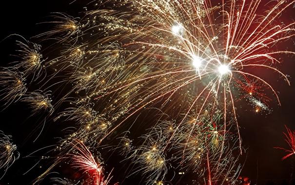 Фото обои салют, фейерверк, New Year, Fireworks