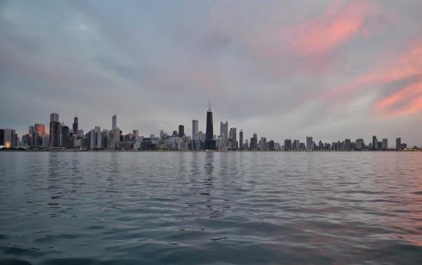 Фото обои вода, здания, небоскребы, Чикаго, USA, Chicago, мегаполис