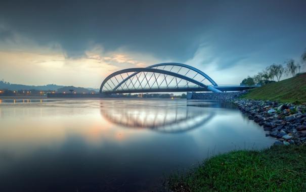 Фото обои мост, огни, река, вечер, сумерки