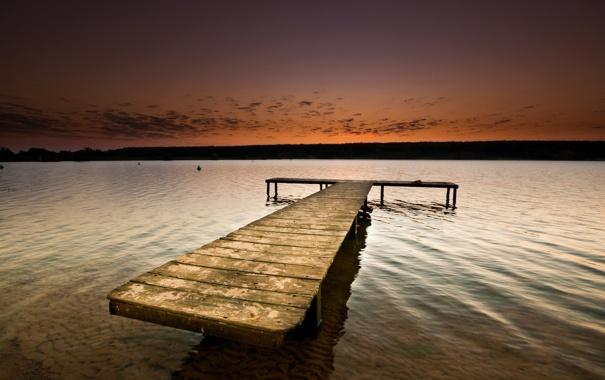 Фото обои гадка, мостик, вечер, озеро