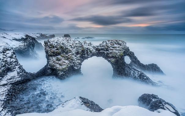 Фото обои скалы, арки, Исландия, волны, море, зима, Borgarfjörður