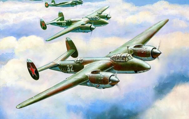 Фото обои небо, облака, рисунок, арт, бомбардировщики, советские, ВоВ