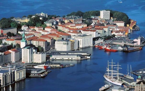 Фото обои море, деревья, пейзаж, корабль, дома, яхта, порт