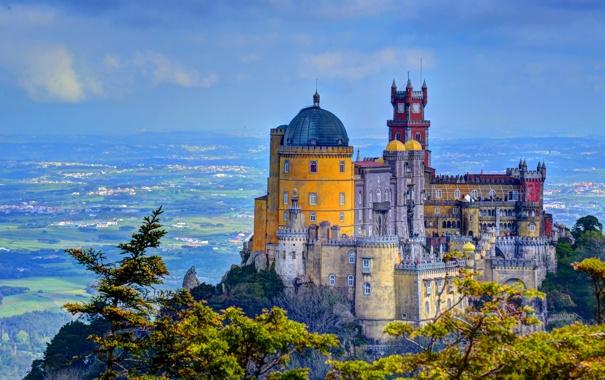 Фото обои город, фото, HDR, Португалия, дворец, Palacio da Pena Sintra