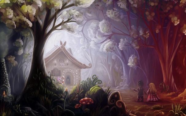 Фото обои лес, деревья, цветы, дети, грибы, сказка, арт