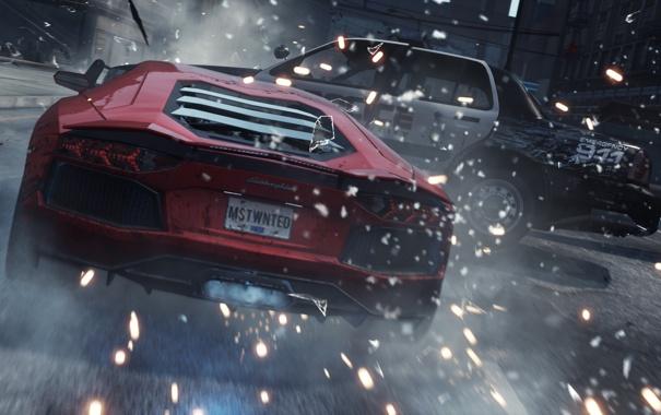 Фото обои авария, гонка, погоня, искры, удар, need for speed most wanted 2, Lamborghini Aventador LP700-4