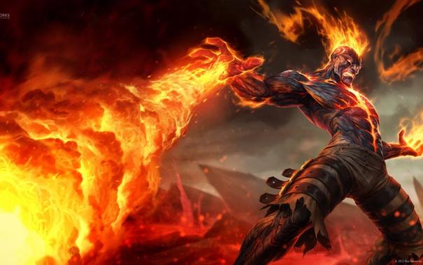 Фото обои League of Legends, скалы, Brand, маг, LoL, пламя