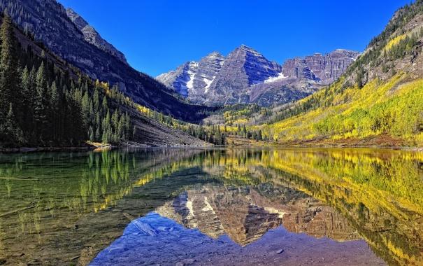 Фото обои небо, горы, озеро, камни, зеркало
