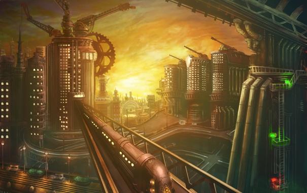 Фото обои будущее, мир, здания, дороги, поезд, высокие, механики