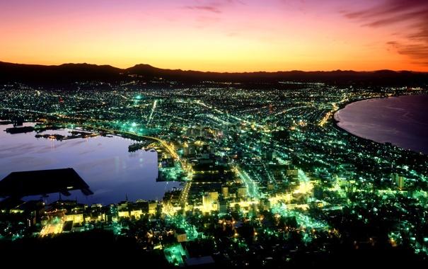 Фото обои ночь, город, вид, Япония, хоккайдо