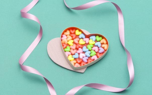 Фото обои сердце, еда, сердечки, ленточка, сладкое, коробочка, драже
