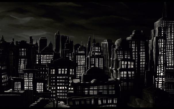 Фото обои мультфильм, ночной город, пластилиновый, мэри и макс