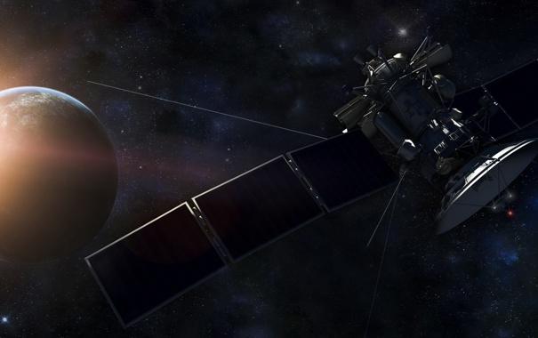 Фото обои космос, планета, спутник, рендер
