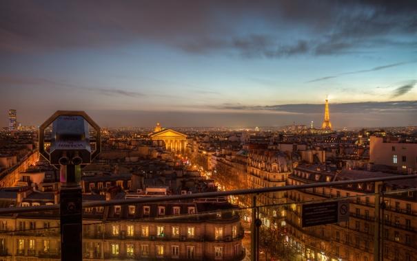 Фото обои здания, вид, вечер, Paris, огни, город, Ile-de-France