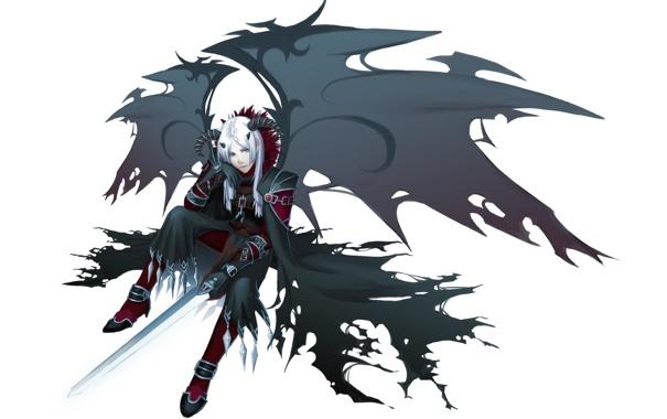 Фото обои меч, рога, перчатки, парень, цепи, белые волосы