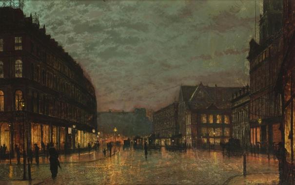 Фото обои город, люди, улица, здания, дома, John Atkinson Grimshaw, Boar Lane by Lamplight Leeds