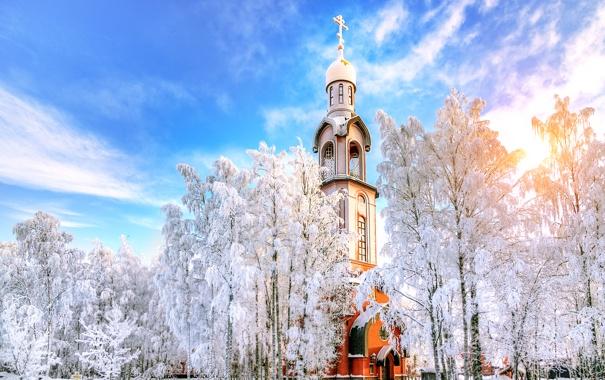 Фото обои зима, Санкт-Петербург, храм, Россия
