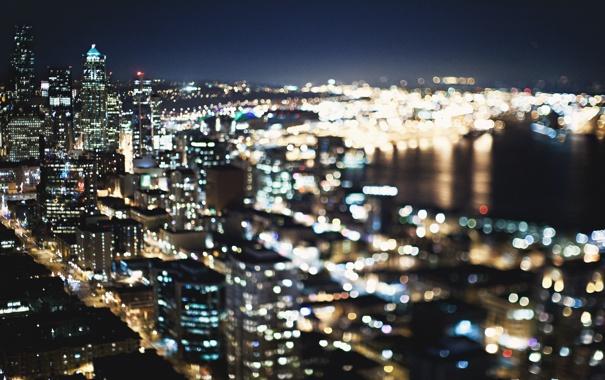 Фото обои ночь, city, город, огни, здания, Сиэтл, USA