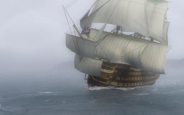 Фото обои море, волны, туман, графика, арт, линейный корабль, ВМФ Великобритании