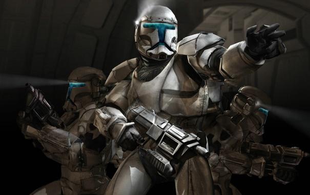 Фото обои оружие, войны, Star Wars, автомат, фонарик, шлем, броня