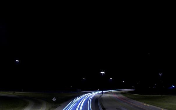 Фото обои дорога, ночной вид, магистраль