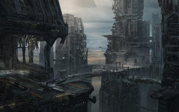 Фото обои город, будущее, фантастика, мрак, мегаполис