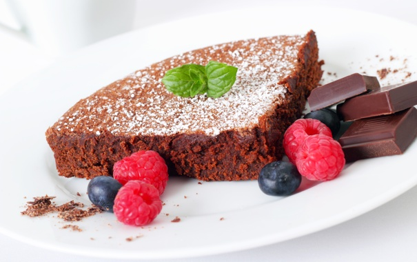 Фото обои ягоды, малина, еда, шоколад, черника, пирог, торт