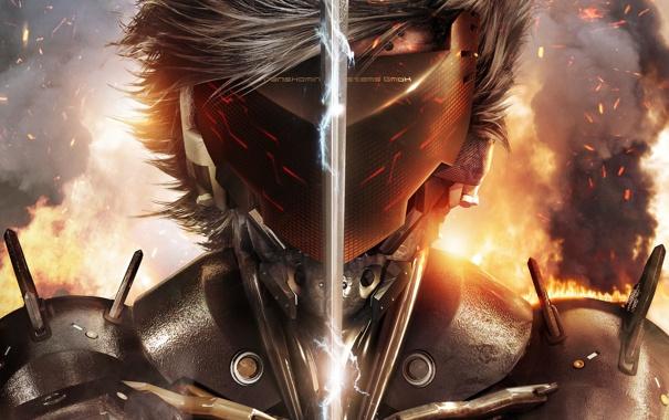 Фото обои огонь, сталь, меч, защита, маска, броня, Ниндзя