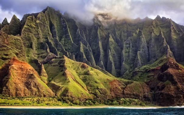 Фото обои облака, природа, океан, берег, остров, Гаваи