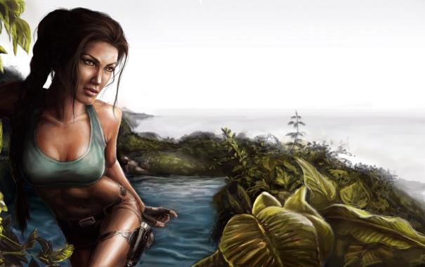 Фото обои девушка, пистолеты, горизонт, джунгли, Tomb Raider, водоем, Lara Croft