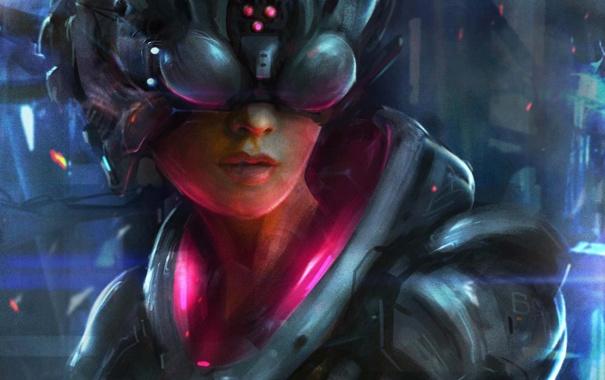 Фото обои девушка, арт, розовое, шлем, броня